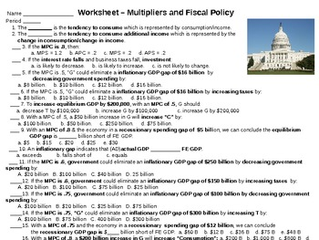 Economics [AP] - Multipliers & Fiscal Policy Homework