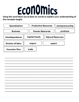 Economics Assessment- With RUBRIC and WORD BANK