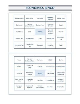 Economics Bingo Board