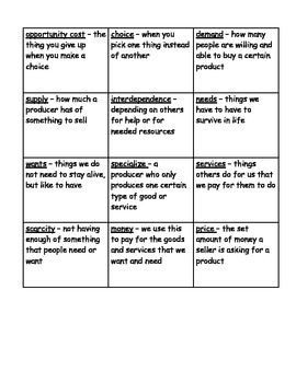 Economics Vocabulary Bingo Game
