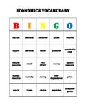 Economics Vocabulary Bingo Game