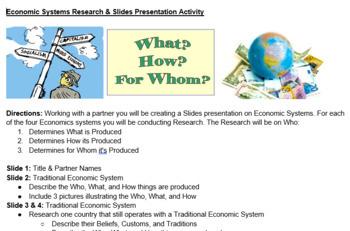Economics/Business: Economic Systems Slides Presentation Project Based Learning