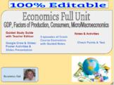 Economics/Business Full Unit GDP, Micro&Macroeconomics Project Based Learning