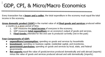 Economics/Business Full Unit GDP, Micro&Macroeconomics Project Based Learning