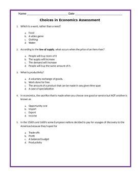 Economics:  Choices in Economics Assessment