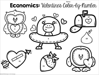 Economics: Color-by-Number Activity (Valentine's Day Edition)