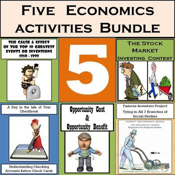 Middle School Economics: Stocks, Checks, Cost/Benefit, & 2 Invention Projects