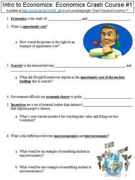 Economics Crash Course #1 (Intro to Economics) worksheet