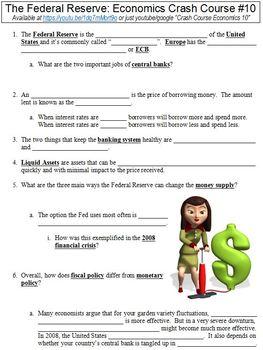 Crash Course Economics #10 (The Federal Reserve) worksheet
