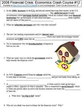 Crash Course Economics #12 (2008 Financial Crisis) worksheet