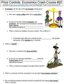 Crash Course Economics #20 (Price Controls) worksheet