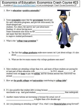 Economics Crash Course #23 (Economics of Education) worksheet