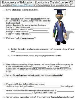 Crash Course Economics #23 (Economics of Education) worksheet