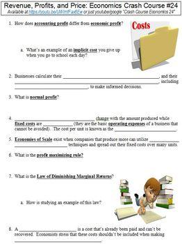 Crash Course Economics #24 (Revenue, Profits, and Price) worksheet