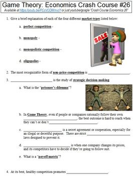 Economics Crash Course #26 (Game Theory) worksheet
