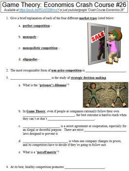Crash Course Economics #26 (Game Theory) worksheet