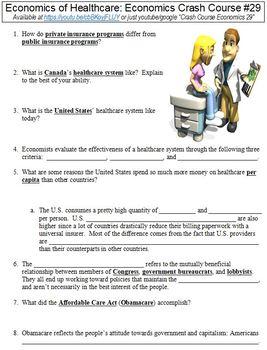 Crash Course Economics #29 (Economics of Healthcare) worksheet