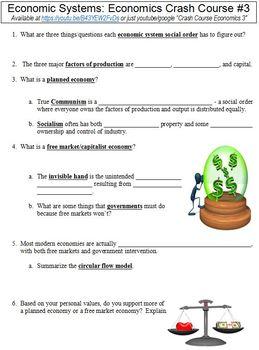 Crash Course Economics #3 (Economic Systems) worksheet