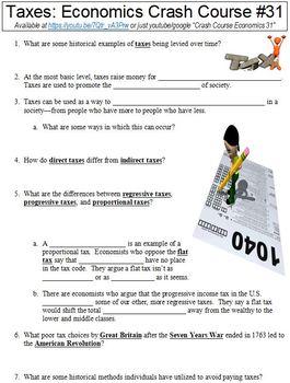 Crash Course Economics #31 (Taxes) worksheet by Social Studies ...