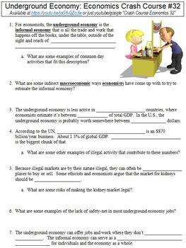 Crash Course Economics #32 (Underground Economy) worksheet