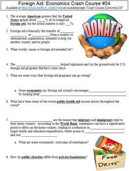 Economics Crash Course #34 (Foreign Aid) worksheet