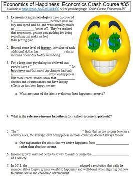 Crash Course Economics #35 (Economics of Happiness) worksheet