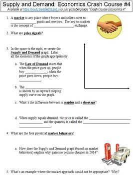 Crash Course Economics #4 (Supply and Demand) worksheet