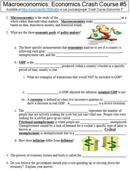 Economics Crash Course #5 (Macroeconomics) worksheet