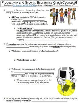 Economics Crash Course #6 (Productivity and Growth) worksheet