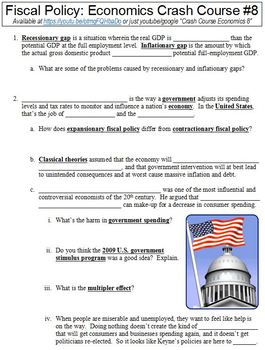 Economics Crash Course #8 (Fiscal Policy) worksheet