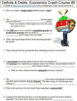 Crash Course Economics #9 (Deficits & Debts) worksheet