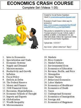 Crash Course Economics Worksheets Complete Set (Full Bundle Collection)