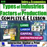 Economics- Factors of Production and Types of Industry Lesson and Activities