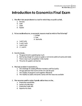 Economics Final Exam by Robert Morrissey | Teachers Pay ...