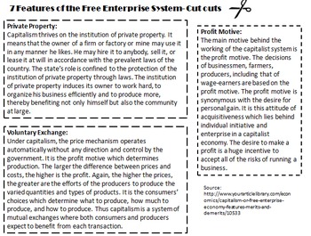 Economics: Free Enterprise System Student Activity