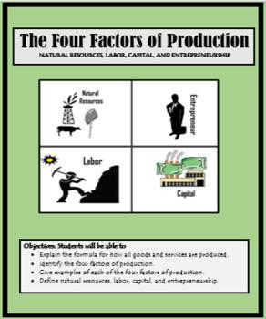 Economics, Goods and Services, THE FOUR FACTORS OF PRODUCTION