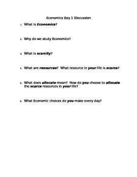Economics Introduction Handout and Discussion