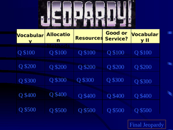 Economics Jeopardy Review Game (Editable)