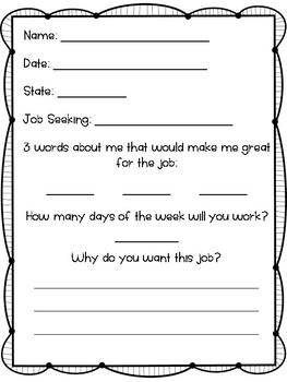 Job Application (Primary Grades)