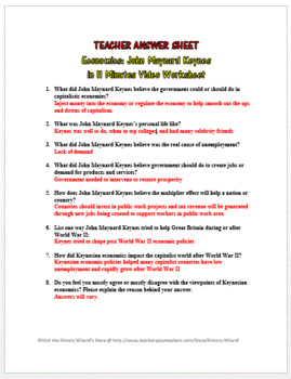 Economics: John Maynard Keynes in 11 Minutes Video Worksheet