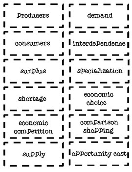Economics Learn and Earn Vocabulary Matching Game