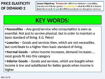 Economics: Lesson 13 - Price Elasticity of Demand (Lesson 2) + 2 worksheets