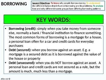 Economics: Lesson 26 - Borrowing and Personal Debt (compound interest)
