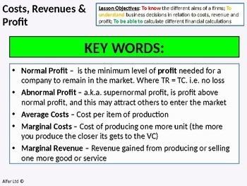 Economics: Lesson 31 - Costs, Revenue and Profit with Break Even Point