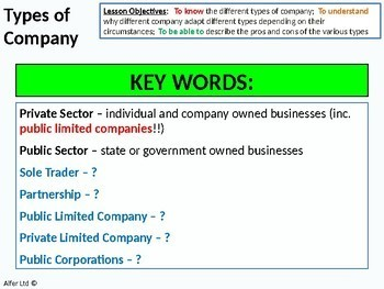 Economics: Lesson 32 - Types of Company (PLCs, Sole Traders, Partnerships ...)