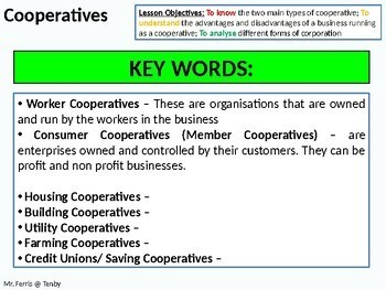 Economics: Lesson 35 - Cooperatives (Co-Operatives / Co-ops) + resources