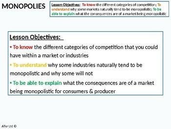 Economics: Lesson 39 - Monopolies / Monopoly and Market Power (+ worksheet)