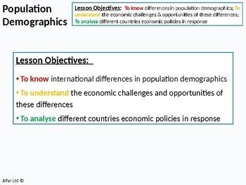 Economics: Lesson 94 - Population Demographics / Dependency (+ worksheet)