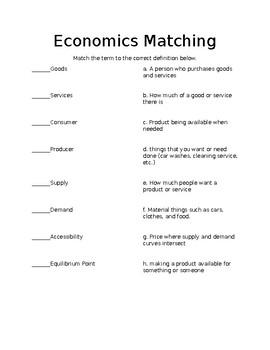 Economics Matching