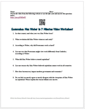 Economics: Max Weber in 7 Minutes Video Worksheet